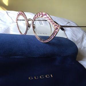 Gucci Cat Eye Lips Gold Pink Crystal Eyeglasses